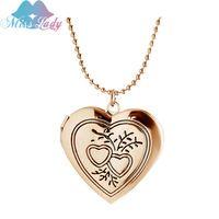 Новые Ювелирные Изделия заявление Любовь ожерелье женщины позолоченные Плавающей Шарм Сердце Фото Медальон Ожерелье Для Памяти MLY1016N
