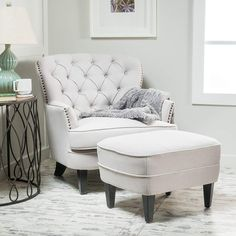 Alfred Tufted Fabric Club Chair with Ottoman, Contemporary Lounge Accent Chair and Footstool Set, Natural Christopher. Tufted Chair, Bedroom Chair, Upholstered Chairs, Ottoman Furniture, Furniture Decor, Bedroom Ottoman, Accent Furniture, Bed Room, Bedroom Furniture