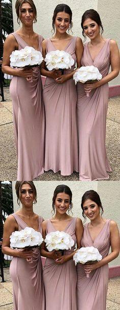 Floor-length V-neck Sleeveless Dusty Pink Bridesmaid Dresses.- Floor-length V-neck Sleeveless Dusty Pink Bridesmaid Dresses With Pleats, Floor-length V-neck Sleeveless Dusty Pink Bridesmaid Dresses With Pleats, - Dusky Pink Bridesmaid Dresses, Dusky Pink Weddings, Dusty Pink Dresses, Dusty Rose Dress, Wedding Bridesmaid Dresses, Dresses Dresses, Bridesmaid Colours, Vestidos Color Rosa, Pli