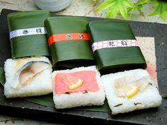 笹寿司 Sasazushi (Sushi wrapped in bamboo leaf) - Mackerel, Salmon and Tai)