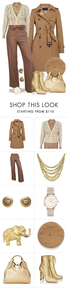 """A blend of beige, camel and metallic"" by shirley-degannes ❤ liked on Polyvore featuring J.Crew, Blumarine, Marco Bicego, Versace, ROSEFIELD, Lanvin and Jimmy Choo"