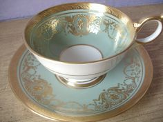 Antique 1950's Aynsley bone china tea cup and by ShoponSherman, $129.00