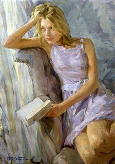 """Love poetry"" - Yuri Krotov, oil on canvas, 2014 {figurative art beautiful blonde female seated with book woman painting} Reader!! artyurikrotov.com"