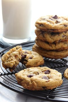 Your favorite soft batch chocolate chip cookie with a fun seasonal spiced carrot cake twist. Egg free! Recipe at bakedbyrachel.com
