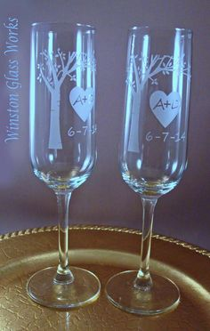 NEW Bride and Groom Toasting Flutes - Blooming Tree with Your Initials and Wedding Date  *♥ An Original Design from Winston Glass Works♥. Have your initials and the date of your special event or anniversary onto the blooming tree. These Champagne Toasting Flutes are a extension of the Blooming Tree Unity Vase also sold by Winston Glass Works. ** Also Available in Wine Glasses and Beer Mugs/Pints/Pilsners, Mason Jar Mugs, Redneck Wine and Coffee Cups!**  Glasses are heavily etched with an…
