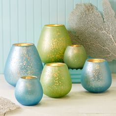 Horizons Set of 3 Raindrop Candle Globes with Satin Crackle Finish and Gold Accent Assorted 2 Colors: Aqua and Seafoam - Glass