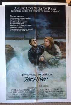 "Movie Poster  ""The River""  Original 1984 Movie Poster  Sissy Spacek    Mel Gibson   RARE by MoviePostersAndMore on Etsy"