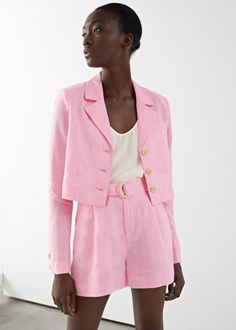 Belted Linen Pleat Shorts - Pink - Shorts - & Other Stories