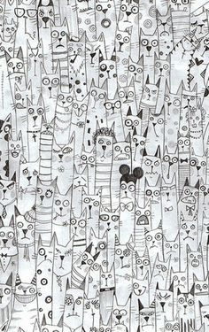 draw, cats, art doodle love, doodle circle, circle zentangle patterns, illustrations doodle, cat doodle, inspir, cat zentangles