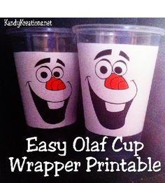 Spice up your party drinks and snacks with this cute cup wrapper printable. Olaf smiles from the wrapper to brighten up your Frozen birthday party. It's quick, easy, and free to add your favorite snowman to the party.