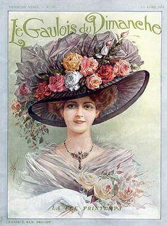 1910s fashion, hat. Edwardian ad.