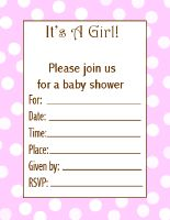 pink and white polka dot printable baby girl shower invitations
