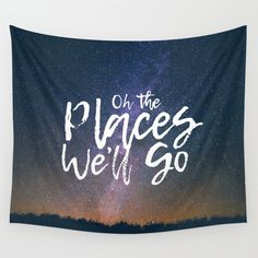 Oh the Places We'll Go Wall Tapestry by brittanystyler Dorm Tapestry, Wall Tapestries, Wall Hangings, Tablecloths, Hand Sewn, Vivid Colors, Favorite Color, Searching, Picnic Blanket