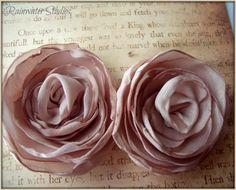Champagne Satin Rose Hair Flower Clips Shoe by RainwaterStudios, $35.00