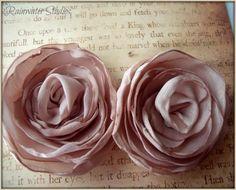 Champagne Satin Rose Hair Flower Clips Shoe by RainwaterStudios, $35.00