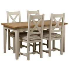 Debenhams Oak and painted 'Wadebridge' small extending table and 4 chairs with cream fabric seats 2 Seater Dining Table, White Dining Table Set, Office Table And Chairs, Small Table And Chairs, Glass Dining Table, Small Tables, Dining Chairs, Dining Room, Dining Area