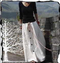 White Skirt  Long skirts women Skirts Linen Skirt by fashiondress6, $56.50