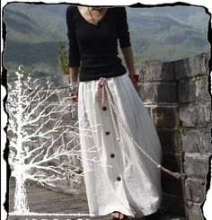 White Skirt  Long skirts women Skirts Linen Skirt women dress. $56.50, via Etsy.
