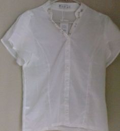 new and stylish Color: white. White Beads, Chef Jackets, Slim, Stylish, Carrera, Blouse, Fitness, Color, Tops