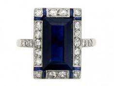 Art Deco sapphire and diamond ring, French, circa 1925. by shauna
