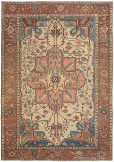 Serapi, 8ft 1in x 11ft 5in, 3rd Quarter, 19th Century.  Economy of design, clear tonal structures and graceful lines contribute to the deeply compelling aesthetic of this nearly 150-year-old small room size antique carpet. In its antique ivory field, soft earth tones, and spacious, idiosyncratic pattern, this vegetably dyed antique rug possesses the attributes much prized by connoisseurs of the Persian Serapi style.