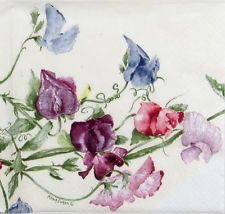 4x Single Lunch Party Paper Napkins for Decoupage Craft Vintage Flower Sweetpea