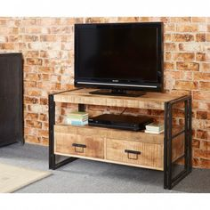 up cycled reclaimed industrial tv cabinet featuring wood and metal and two drawers the light grain hardwood left in its natural state and colour with