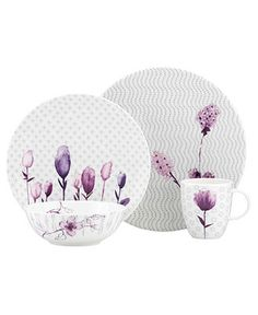 Lenox Simply Fine Dinnerware, Watercolors Amethyst 4 Piece Place Setting - Fine China - Dining & Entertaining - Macy's