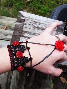 Items similar to Ruby Rose Bracelet Ruby Bracelet, Slave Bracelet, Bracelets, Nerd Gifts, Ruby Rose, Rwby, Red Roses, Ribbon, Fancy