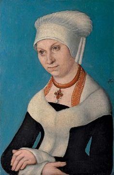 Portrait of Barbara, Duchess of Saxony, 1500, Lucas Cranach the Elder; born at Kronach, became court painter of the Electors of Saxony in 1504.  This was likely an introductory painting to the court prior to his court appointment.