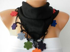 Black Scarf   Pashmina  Scarf  Headband Necklace Cowl by fatwoman, $19.00