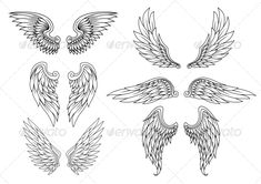Illustration of Heraldic wings set for tattoo or mascot design vector art, clipart and stock vectors. Dream Tattoos, Badass Tattoos, Future Tattoos, Body Art Tattoos, Tattoo Drawings, New Tattoos, Small Tattoos, Wing Tattoos, Island Tattoo
