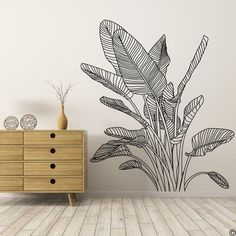 Bird of Paradise Tropical Plant Wall Decal, modern home decor Creative Wall Painting, Wall Painting Decor, Wall Decor, Bedroom Decor, Clay Birds, Ceramic Birds, Pet Birds, Small Birds, Colorful Birds