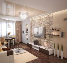 Stone Wall Living Room, Living Room Modern, Home Living Room, Interior Design Living Room, Living Room Designs, Living Room Decor, Living Walls, Modern Decor, Family Room