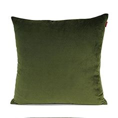"""Shinnwa Velvet Super Soft Decorative Throw Pillow Case Solid Twin Side Cushion Covers for Couch, 18"""" x 18"""", Olive, Pack of 2"""