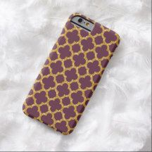 Faux Shiny Gold Glitter Trendy Chic Purple Quatrefoil Moroccan Mosaic Pattern On Aubergine Or Eggplant Purple Colored Background iPhone 6 Case