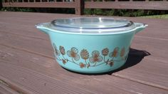 Vintage RARE Pyrex Turquoise Aqua Gold Cloverberry Promotional 475 Casserole | eBay - For $1,250.00 or best offer it can be yours now!