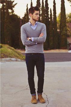 Men's Grey V-neck Sweater, Blue Long Sleeve Shirt, Navy Jeans, Tan Suede Desert Boots