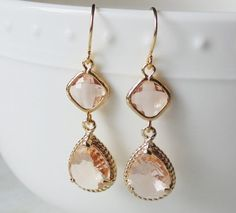 Peach earrings. Peach champagne glass by blackandwhitejewels