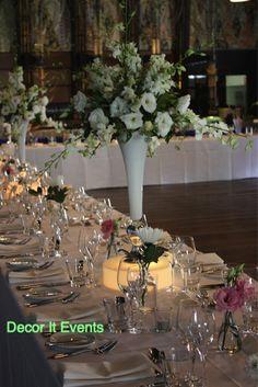 Stunning white flowers, in white trumpet vases  #weddingcenterpieces #floralcenterpieces #whitetrumpetvase #showtimeeventscenter #floralstyling #floral #flowers #flowerstyling #floraldesign #floraldecor #decoritevents #floralcenterpieces #flowerdecorations #melbourne #melbourneevents #floralcenterpiecesmelbourne www.decorit.com.au (5)