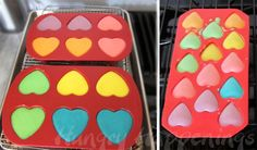 Bake brightly colored conversation heart cheesecakes in silicone molds.