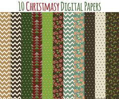 Christmas Digital Papers, INSTANT DOWNLOAD, for digital scrapbooking, printing, paper crafts. Commercial use ok.    This is part of a matching set: