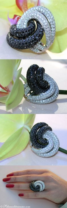 Huge Black&White Diamond Ring, 6,94 cts. WG14K