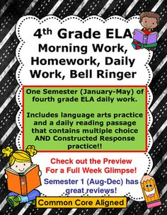 4th Grade Reading, Language Arts, ELA Morning Work, Daily