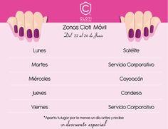 Calendario de la semana del 22 al 26 de junio Para más información manda un correo a info@cloti.com.mx. ¡No te quedes sin vivir la experiencia #Cloti! Puedes agendar ahora o esperar la ubicación exacta de #ClotiMóvil cuando este cerca de tu zona.