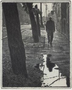 Mikael Kihlman, Walking in Tornala, drypoint, 10x8 cm, 1999