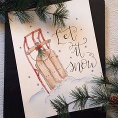 """Vintage sled """"Let is snow"""" - original hand painted & hand lettered watercolor Christmas decor"""