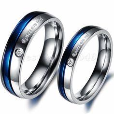 Damen Herren Edelstahl Ring Zirkonia Verlobungsringe Versprechen Hochzeit Band