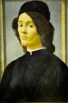 Sandro Botticelli - Portrait of Young Man, 1470 at the Louvre Museum Paris France