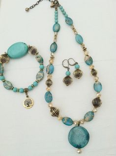Turquoise with Gold Necklace Set